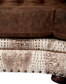 ivory croc tufted leather curved sofa