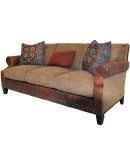 fine western style sofa with fabric and leather accents