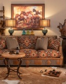 southwestern fabric sofa with leather accents