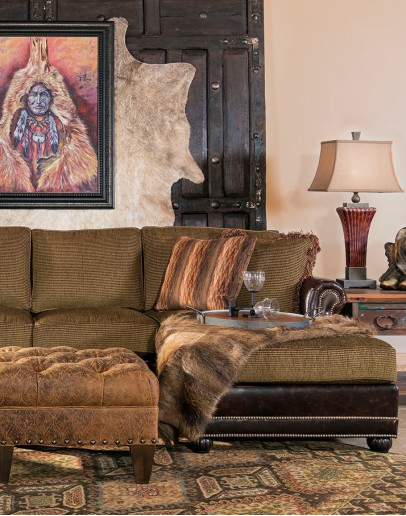 fabric sofa with chaise lounger on one side