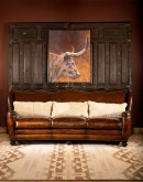 high end western style leather sofa with camel back,ranch style sofa with saddle leather