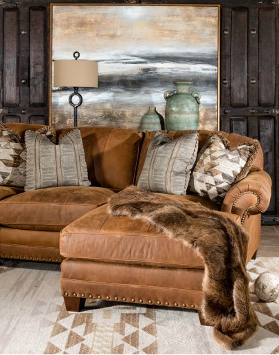 light brown distressed leather sofa with chaise