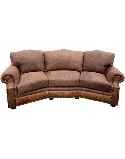 distressed brown leather curved sofa