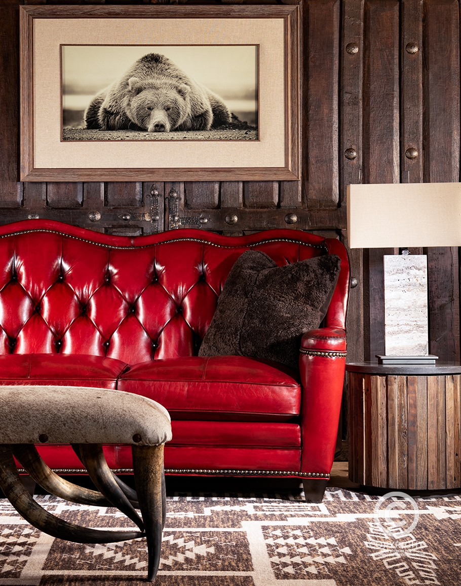 Oakley Red Leather Sofa Fine Furniture, Living Room With Leather Furniture