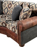 southwestern style curved sofa with leather and fabric mixed