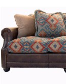 sofa with chaise with southwestern fabric and leather accents