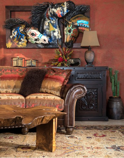 curved sofa with southwestern fabric and leather accents