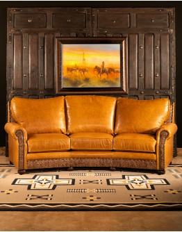 Texas Ranch Curved Leather Sofa