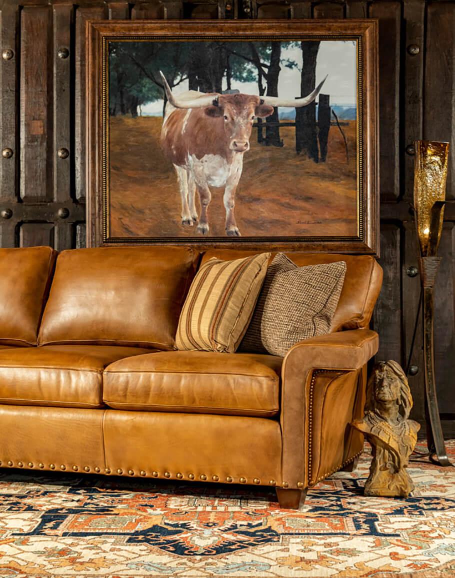 - Thatcher Sofa Modern Rustic Leather Sofa