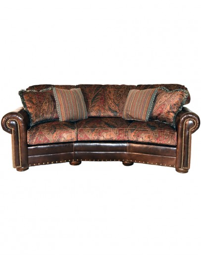 luxurious velvet fabric sofa with leather accents