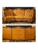 high end western style leather curved sectional sofa