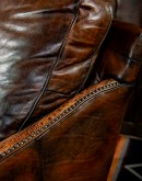 hand burnished leather swivel and glider chair,saddle leather chair