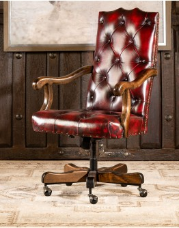 Chisum Coral Leather Desk Chair