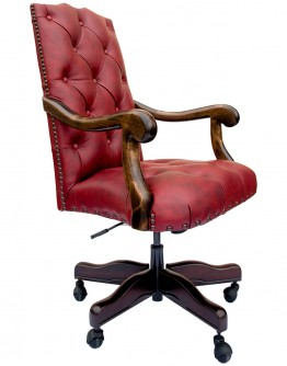 Chisum Saloon Red Tufted Desk Chair